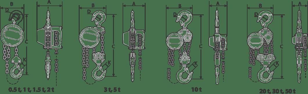 palan manual cu lanț - desen tehnic