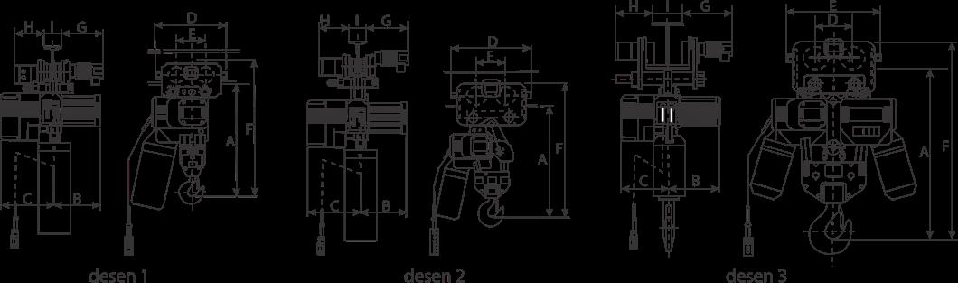 desen tehnic palan electric trifazic cu lanț și troliu electric