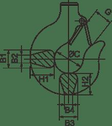 desen tehnic cârlig sarcină palan electric