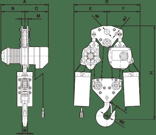 desen tehnic palan electric trifazic cu lanț PRO-YSS de 10 tone