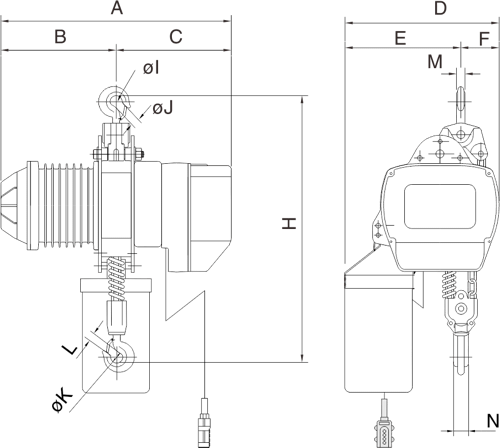 desen tehnic palan electric trifazic cu lanț PRO-YSS de 2 tone si 3 tone
