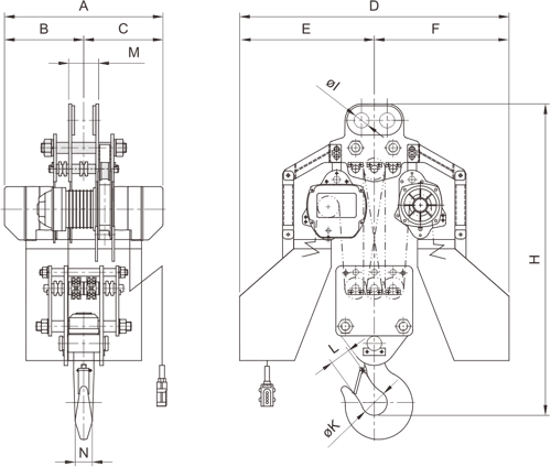 desen tehnic palan electric trifazic cu lanț PRO-YSS de 20 tone si 30 tone