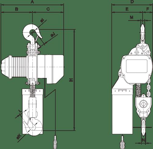 desen tehnic palan electric trifazic cu lanț PRO-YSS de 5 tone