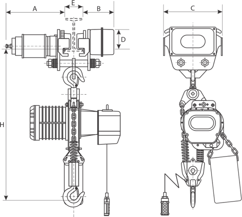 desen tehnic palan electric cu lanț și troliu electric