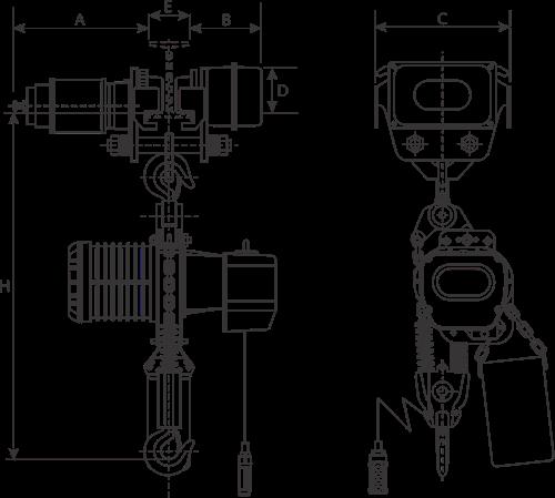 desen tehnic palan electric cu lanț și troliu electric YSHM