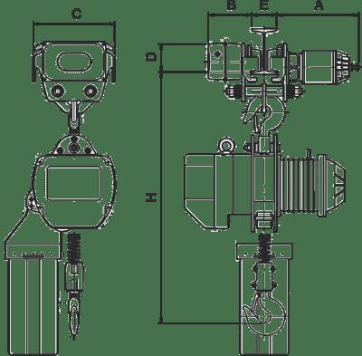 desen tehnic palan electric cu lanț și troliu electric YSSM