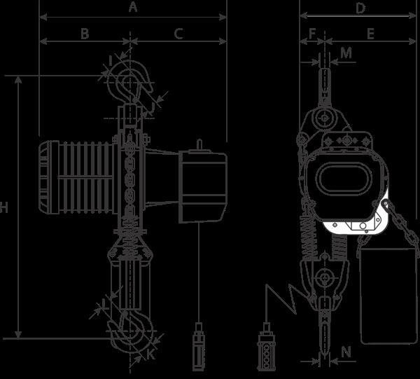 desen tehnic palan electric cu lanț YSF