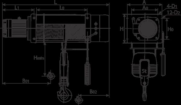 desen tehnic palan electric trifazic cu cablu