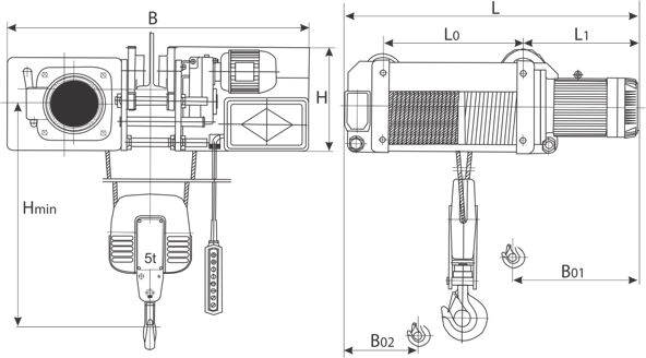 desen tehnic palan electric trifazic cu cablu și troliu electric