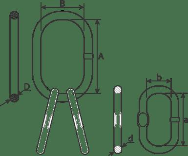 desen tehnic ochet dublu cu inele mari pentru cablu