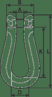 desen tehnic cuplă omega lanț cu corp lung