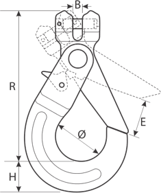 desen tehnic cârlig cu autoblocare lanț