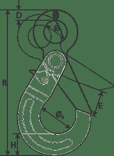 desen tehnic cârlig ochi cu autoblocare cablu