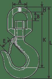 desen tehnic cârlig rotativ cu siguranță