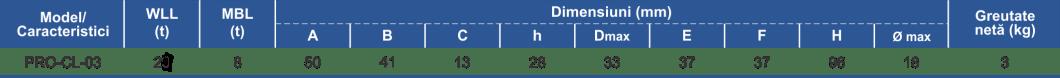 dimensiuni și caracteristici element culisant ajustare cablu