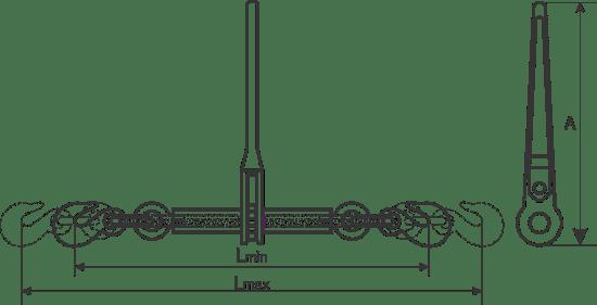 desen tehnic întinzătoare lanț cu clichet și cârlige cu siguranță