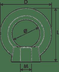 desen tehnic piuliță înșurubabilă de ridicare
