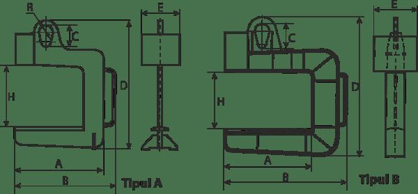 desen tehnic cârlig tip C rulouri tablă