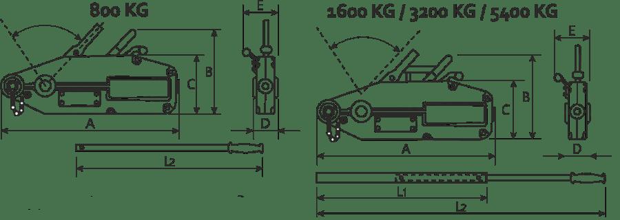 desen tehnic troliu manual cu cablu - tirfor
