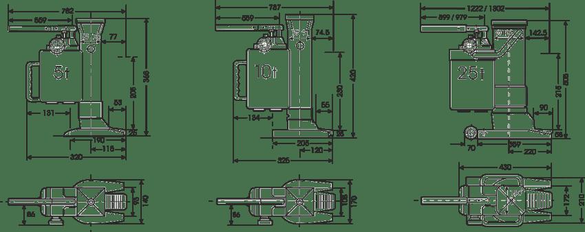 desen tehnic cric hidraulic cu talpă
