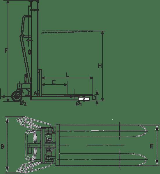 transpalet manual cu ridicare și coborâre